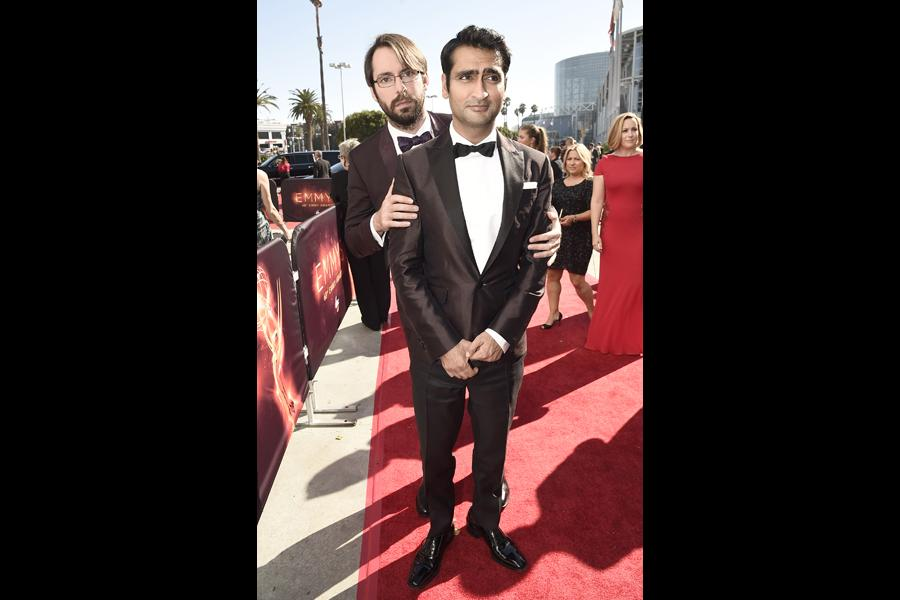 Kumail Nanjiani, right, and Martin Starr on the red carpet at the 2016 Primetime Emmys.