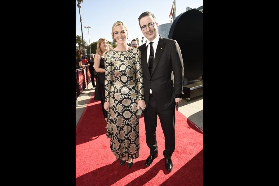 Kate Norley and John Oliver on the red carpet at the 2016 Primetime Emmys.