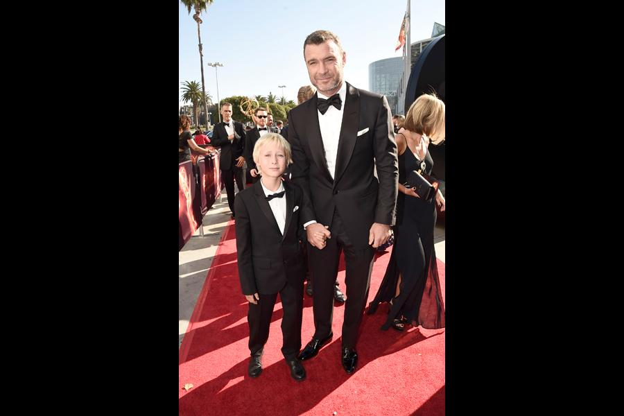 Liev Schreiber and Alexander Pete Schreiber on the red carpet at the 2016 Primetime Emmys.