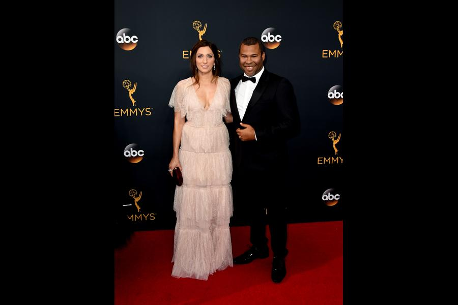 Chelsea Peretti and Jordan Peele on the red carpet at the 2016 Primetime Emmys.