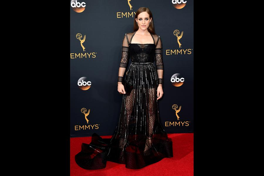 Carly Chaikin on the red carpet at the 2016 Primetime Emmys.