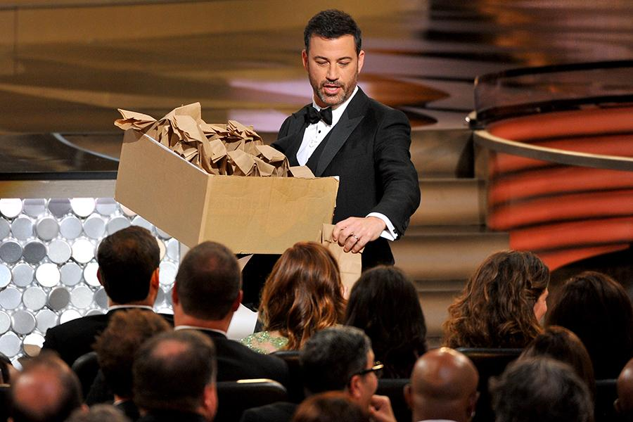 Host Jimmy Kimmel hands out peanut butter and jelly sandwiches at the 2016 Primetime Emmys.