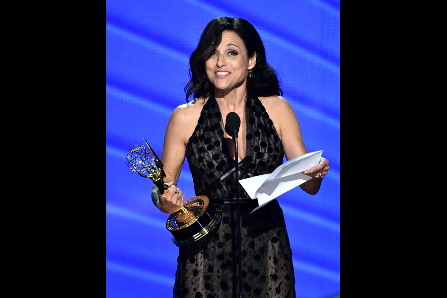 Julia Louis-Dreyfus accepts her award at the 2016 Primetime Emmys.
