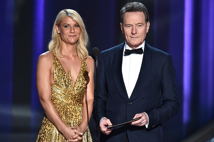 Claire Danes and Bryan Cranston present an award at the 2016 Primetime Emmys.
