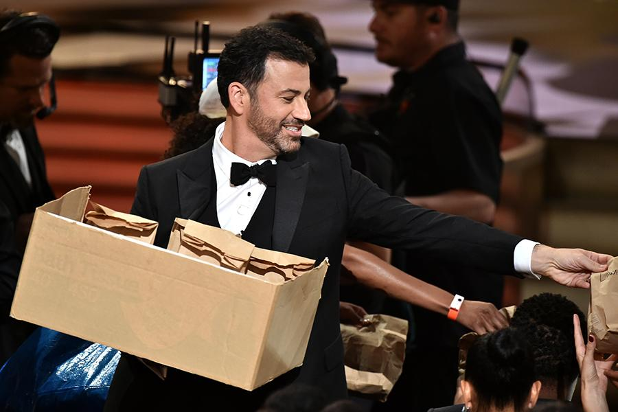 Jimmy Kimmel hands out peanut butter and jelly sandwiches at the 2016 Primetime Emmys.
