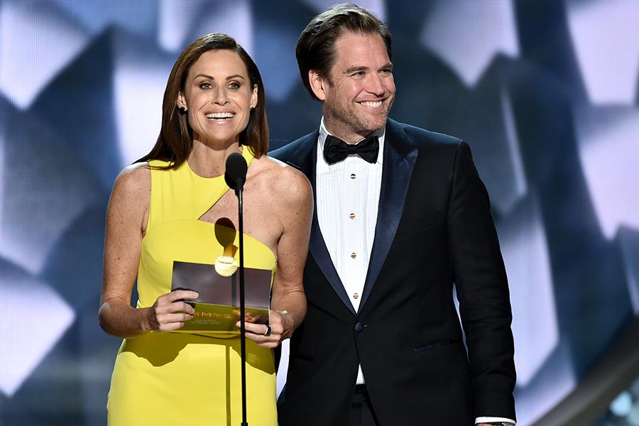 Minnie Driver and Michael Weatherly present an award at the 68th Primetime Emmy Awards.