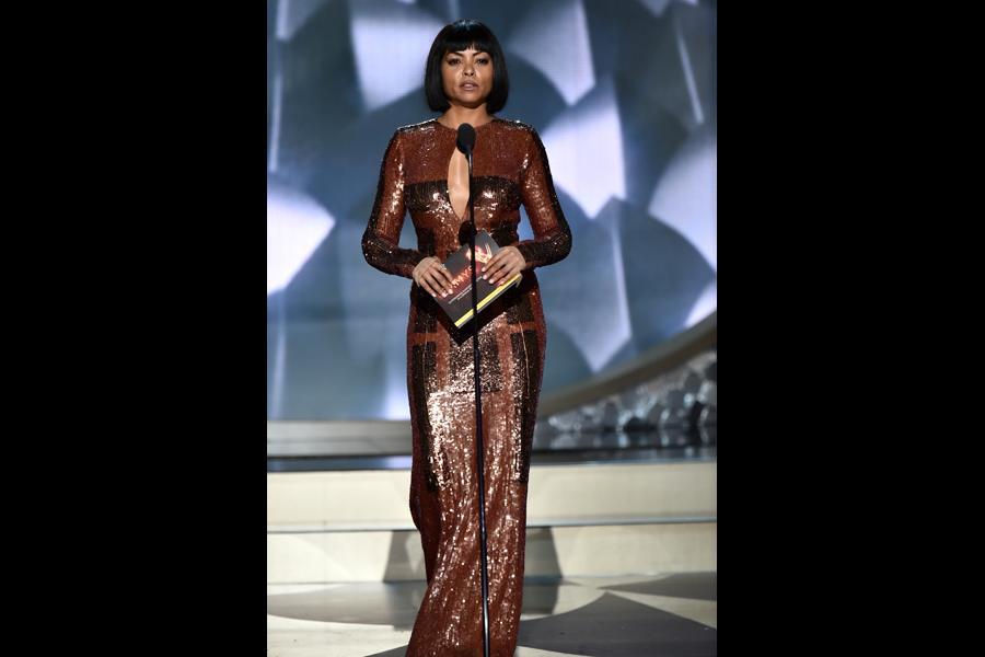 Taraji P. Henson presents an award at the 2016 Primetime Emmys.