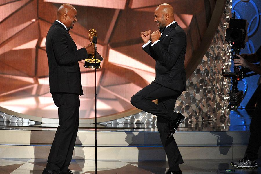 Damon Wayans presents an award to Keegan-Michael Key at the 2016 Primetime Emmys.