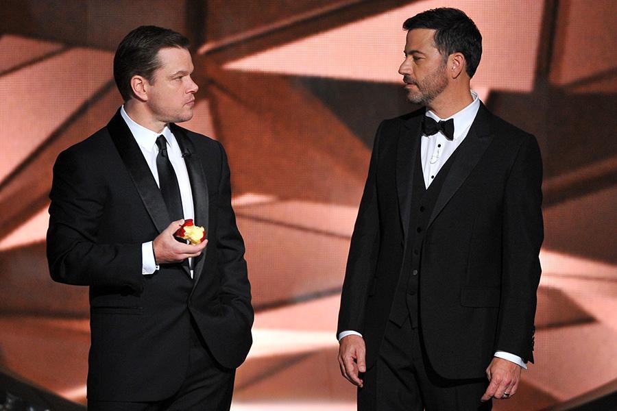 Matt Damon and host Jimmy Kimmel on stage at the 2016 Primetime Emmys.
