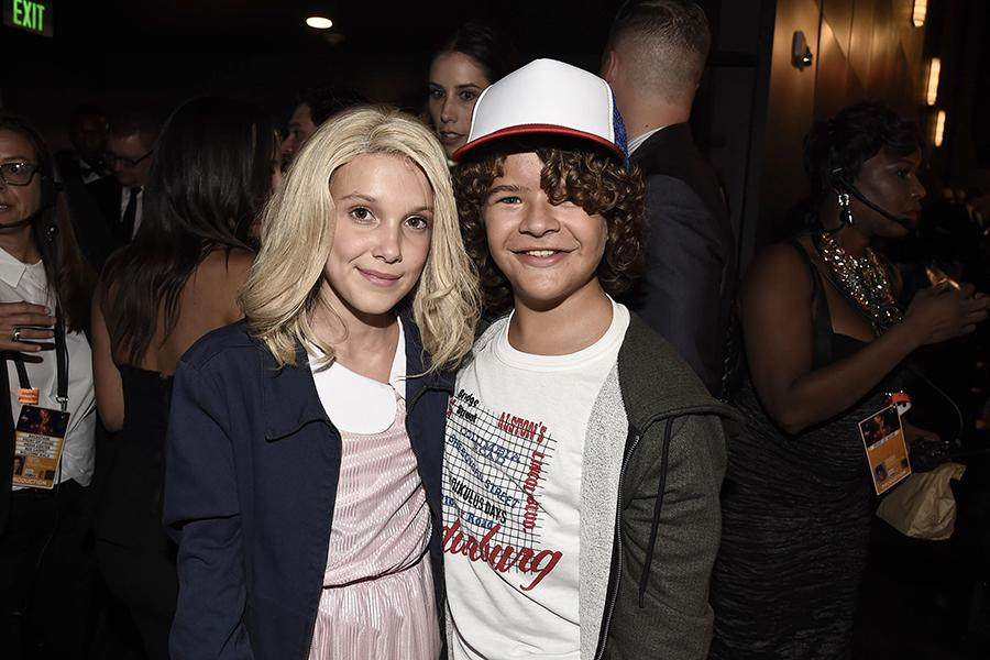 Millie Bobby Brown and Gaten Matarazzo at the 2016 Primetime Emmys.