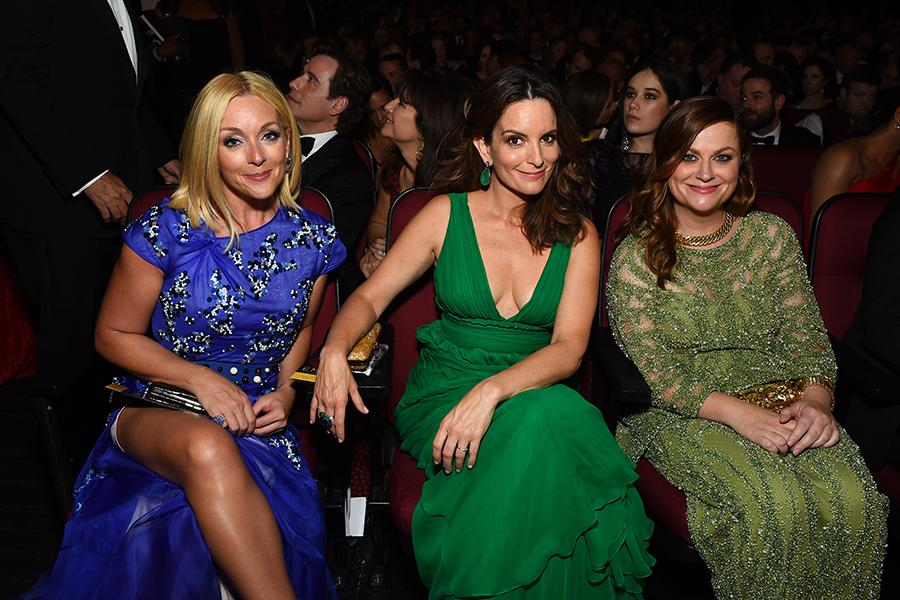 Jane Krakowski, Tina Fey and Amy Poehler at the 2016 Primetime Emmys.