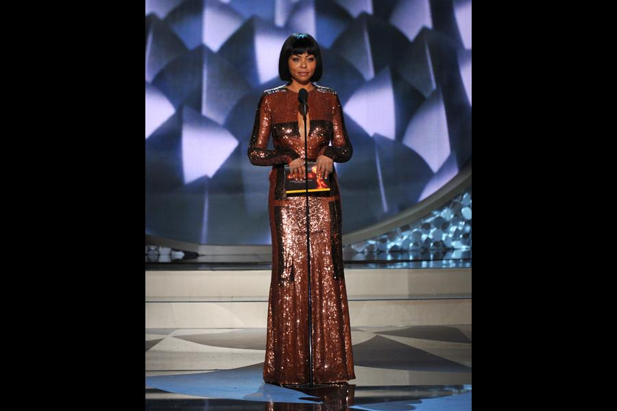 Taraji P. Henson on stage at the 2016 Primetime Emmys.