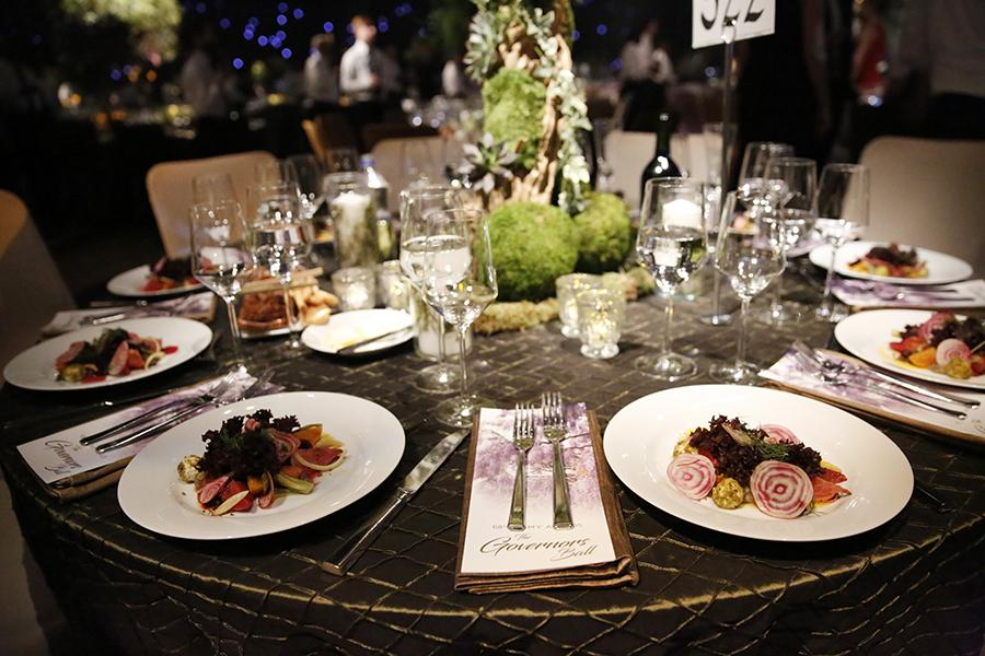 A general view of the dinner table at the 68th Emmys Governors Ball.