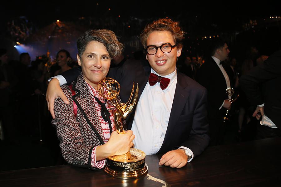Jill Soloway and Isaac Soloway-Strozier at the 68th Emmys Governors Ball.