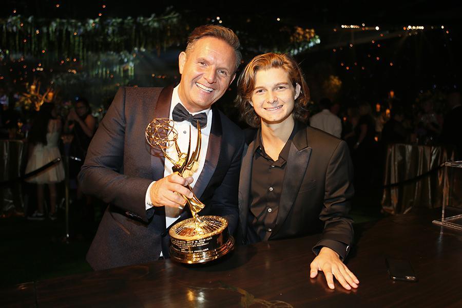 Mark Burnett and Cameron Burnett at the 68th Emmys Governors Ball.