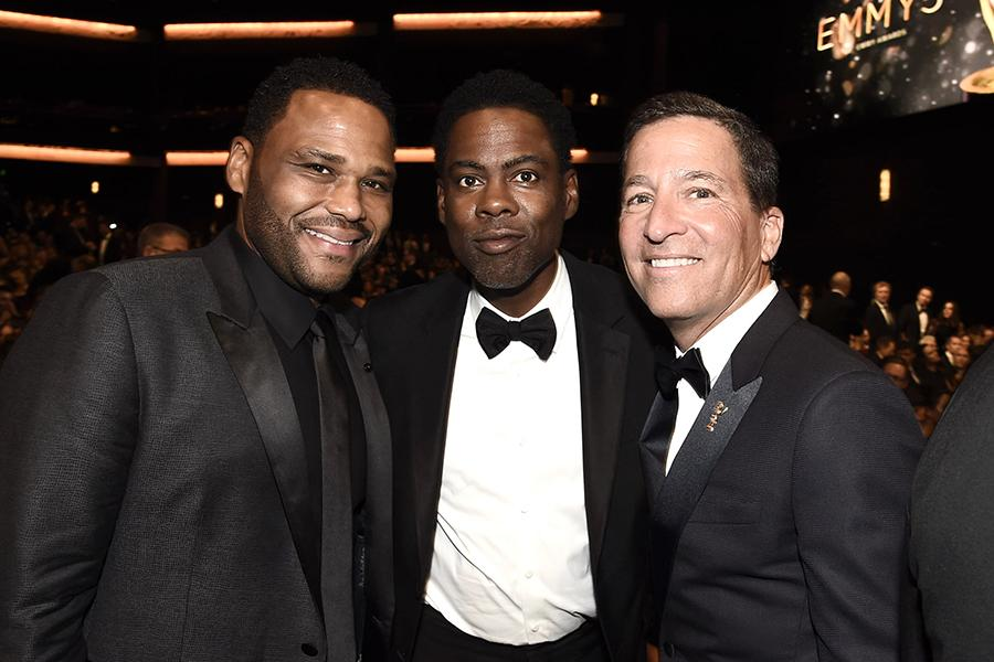 Anthony Anderson, Chris Rock, and Bruce Rosenblum at the 68th Emmys Governors Ball.