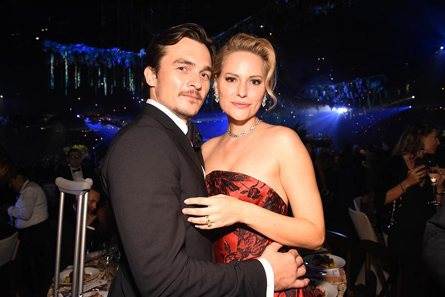 Rupert Friend and Aimee Mullins at the 68th Emmys Governors Ball.