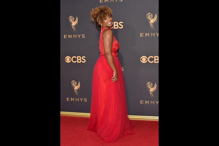 Tanika Ray on the red carpet at the 2017 Primetime Emmys.