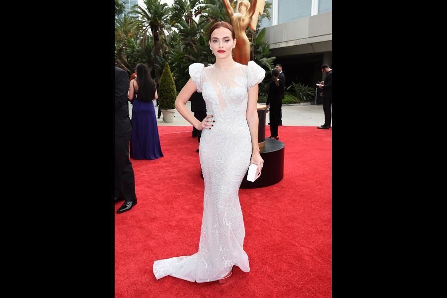 Madeline Brewer arrives on the red carpet at the 69th Primetime Emmy Awards.