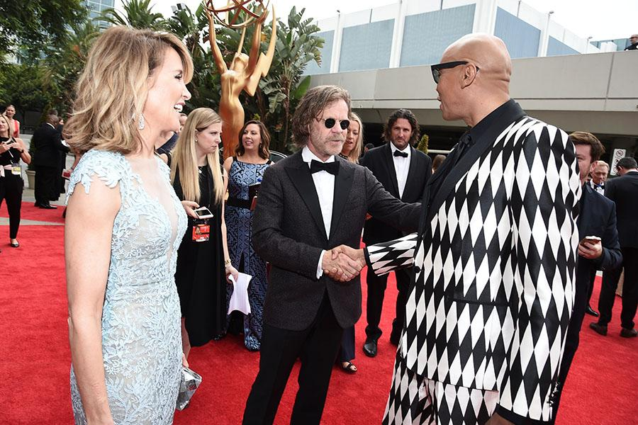 Felicity Huffman, William H. Macy, and RuPaul on the red carpet at the 2017 Primetime Emmys.