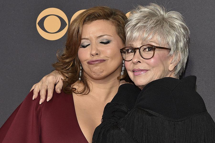 Justina Machado and Rita Moreno on the red carpet at the 2017 Primetime Emmys.