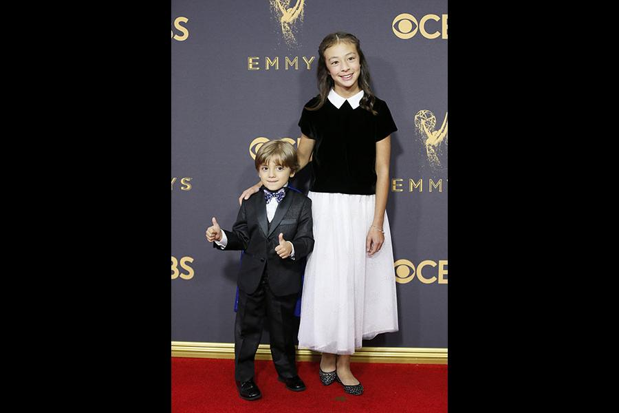 Jeremy Maguire and Aubrey Anderson-Emmons on the red carpet at the 2017 Primetime Emmys.