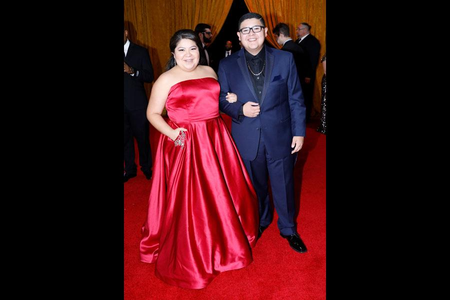 Raini Rodriguez and Rico Rodriguez on the red carpet at the 2017 Primetime Emmys.