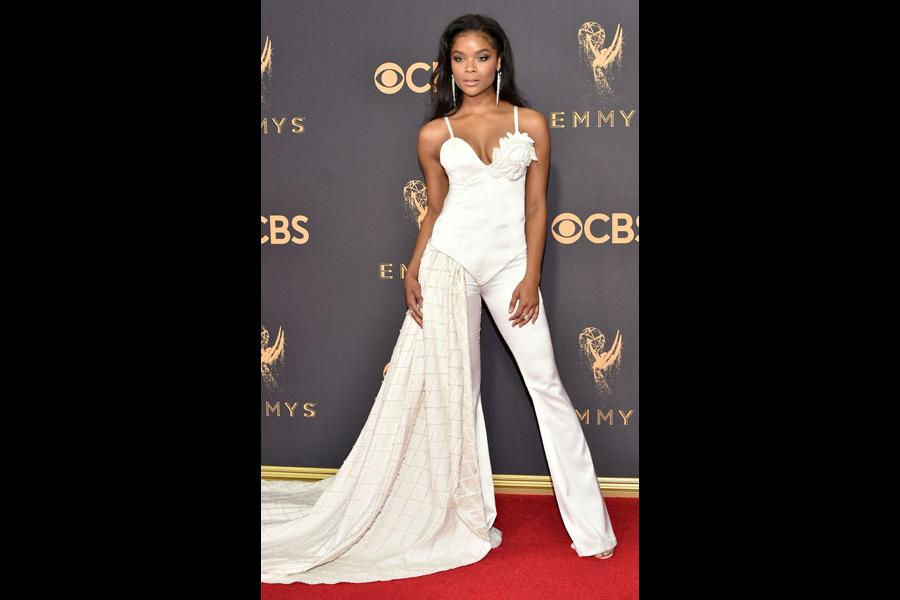 Ajiona Alexus on the red carpet at the 69th Primetime Emmy Awards