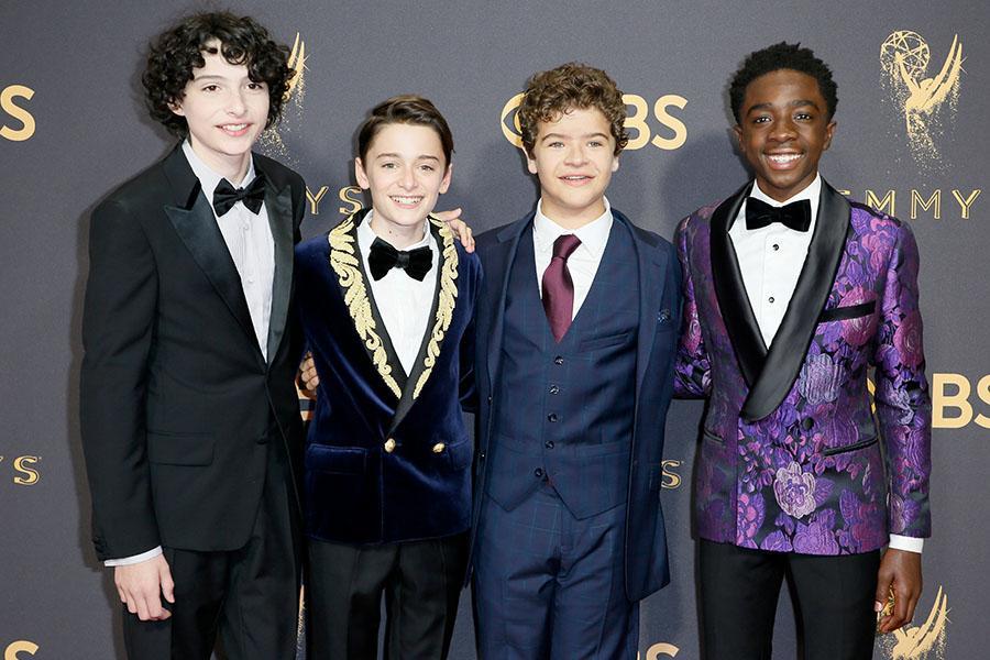 Finn Wolfhard, Noah Schnapp, Gaten Matarazzo, and Caleb McLaughlin on the red carpet at the 2017 Primetime Emmys.