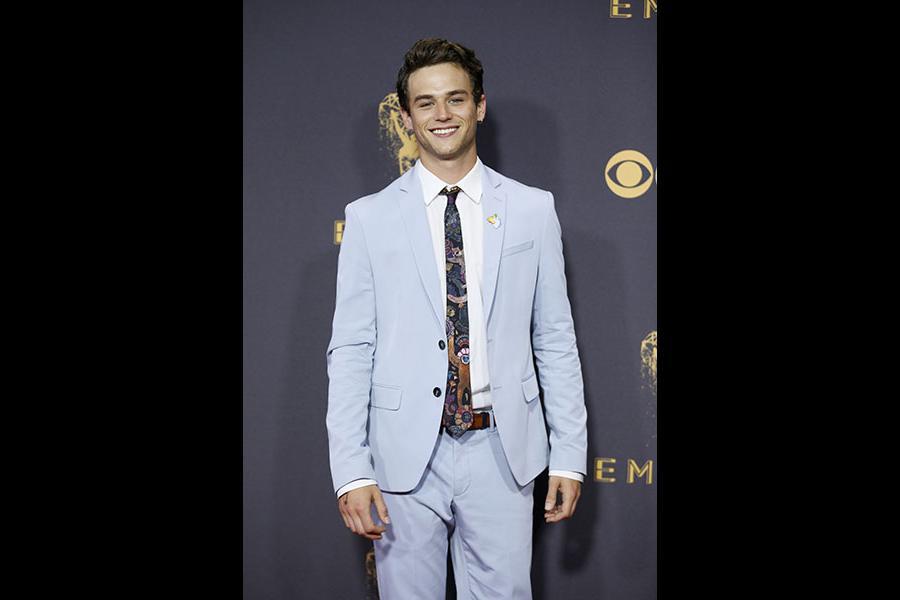 Brandon Flynn on the red carpet at the 69th Primetime Emmy Awards