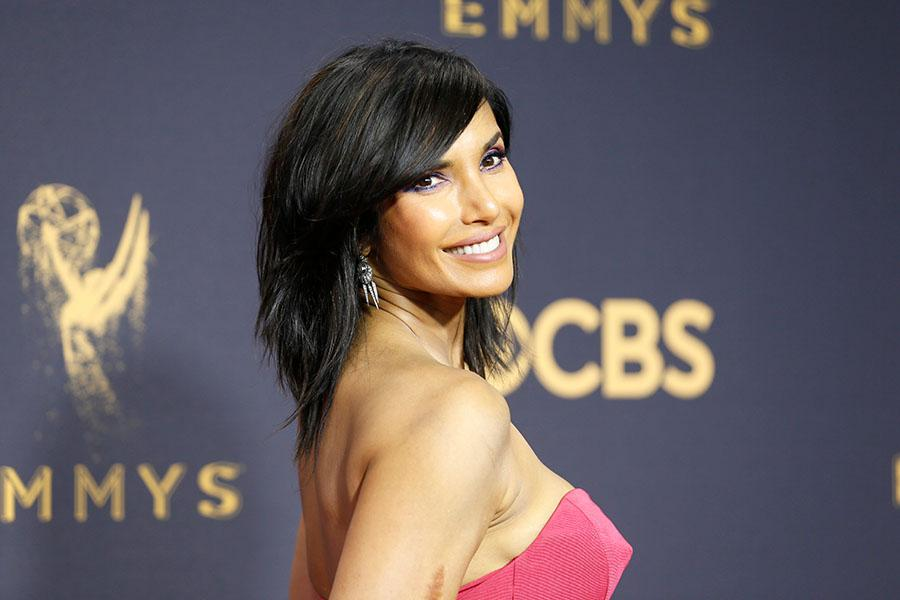 Padma Lakshmi on the red carpet at the 2017 Primetime Emmys.