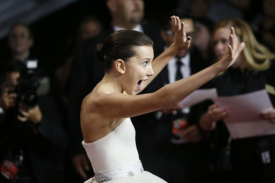 Millie Bobby Brown on the red carpet at the 2017 Primetime Emmys.