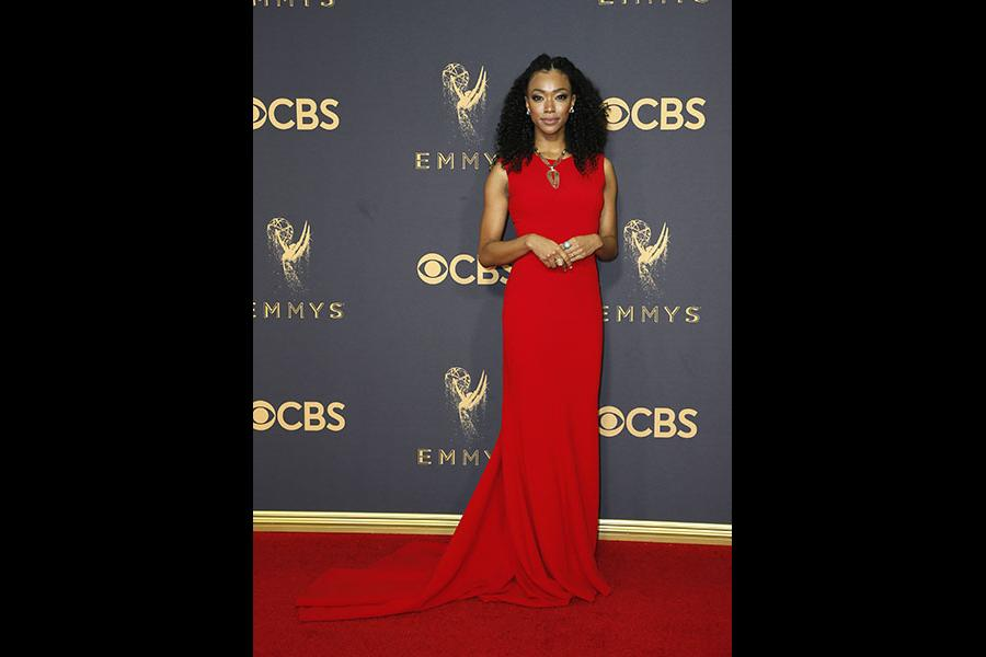 Sonequa Martin-Green on the red carpet at the 2017 Primetime Emmys.