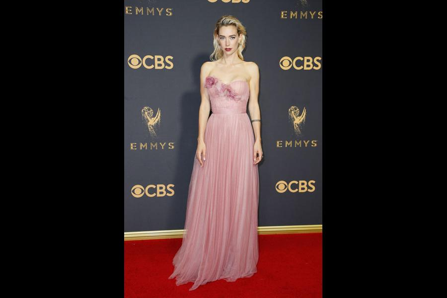 Vanessa Kirby on the red carpet at the 2017 Primetime Emmys.
