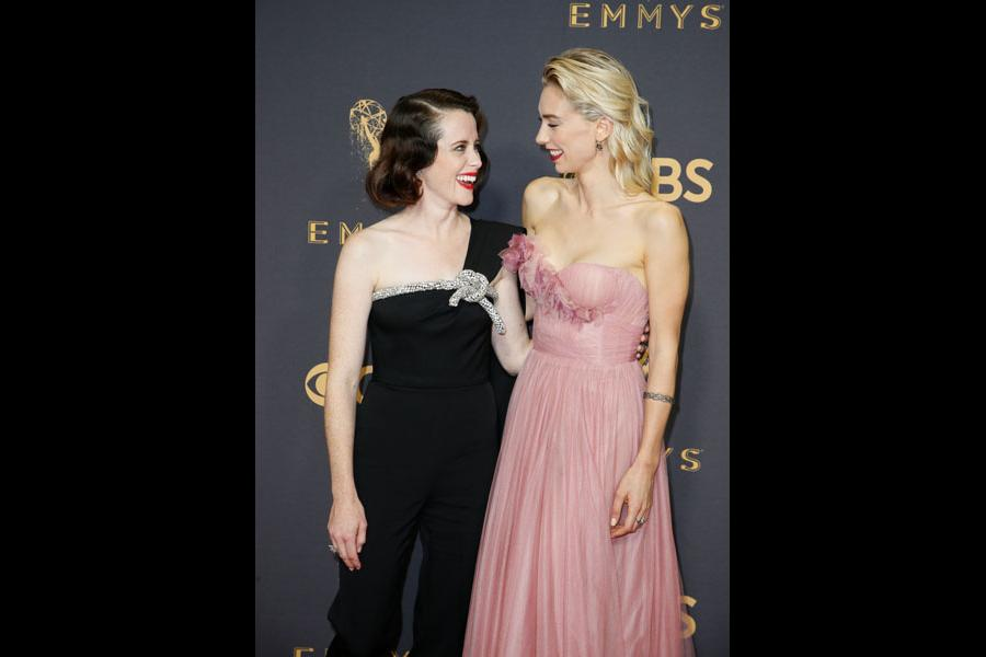 Claire Foy and Vanessa Kirby on the red carpet at the 2017 Primetime Emmys.