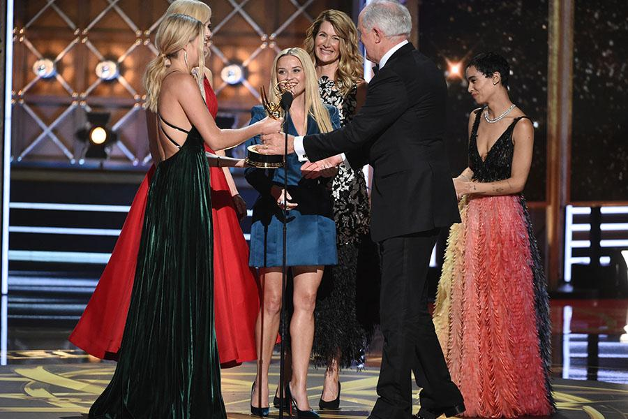 Shailene Woodley, Nicole Kidman, Reese Witherspoon, Laura Dern and Zoe Kravitz presents an award at the 69th Primetime Emmy Awards