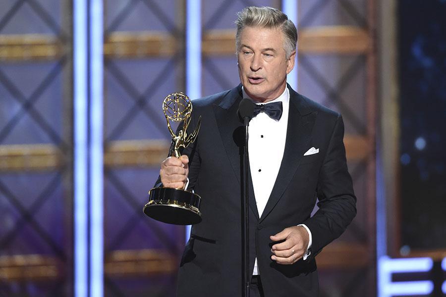 Alec Baldwin accepts his award at the 2017 Primetime Emmys.