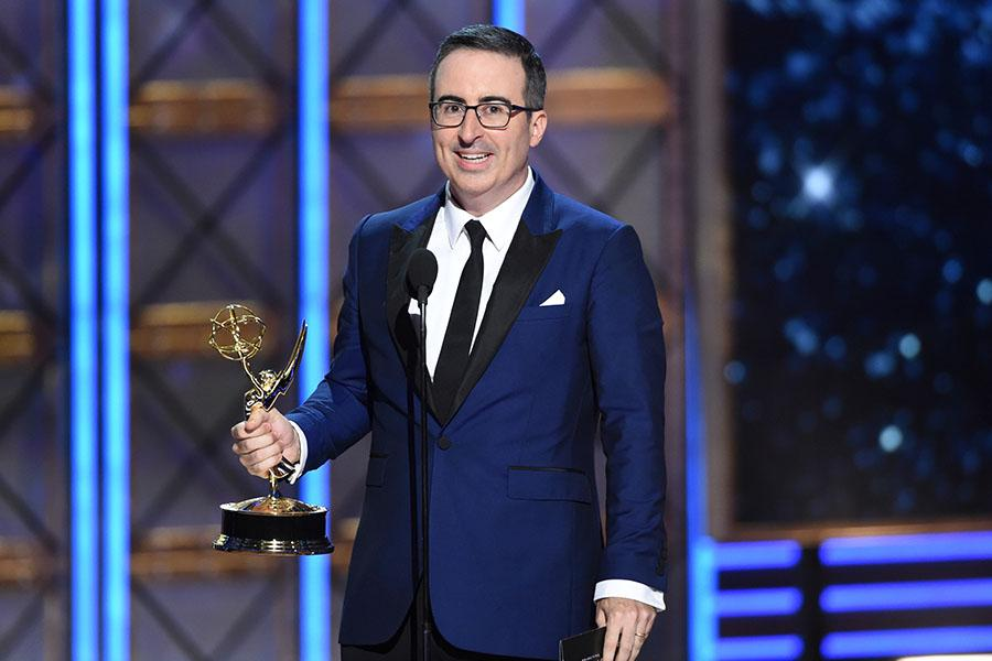 John Oliver accepts his award at the 69th Primetime Emmy Awards