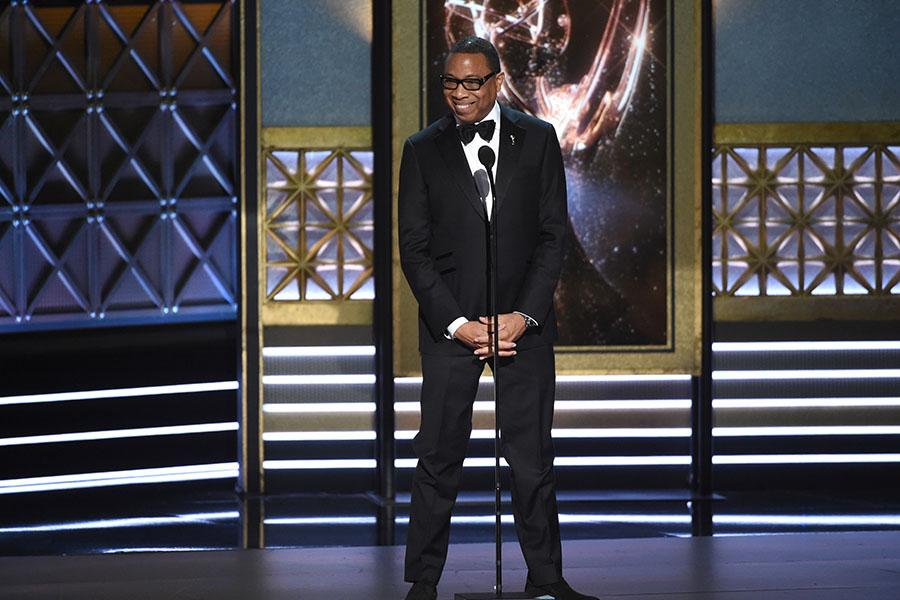 Hayma Washington on stage at the 2017 Primetime Emmys.