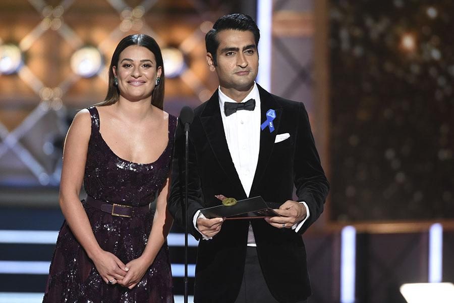 Lea Michele and Kumail Nanjiani on stage at the 2017 Primetime Emmys.