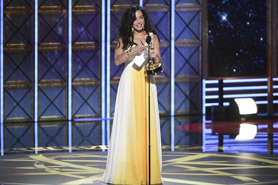 Reed Morano accepts her award at the 69th Primetime Emmy Awards