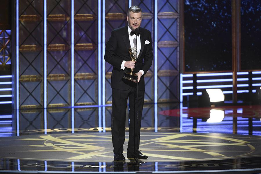 Charlie Brooker accepts his award at the 2017 Primetime Emmys.