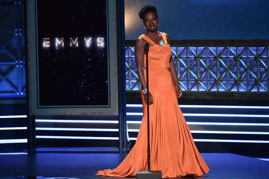 Viola Davis on stage at the 2017 Primetime Emmys.