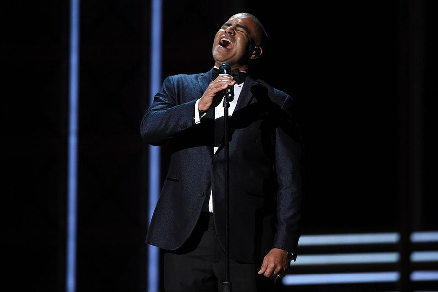 Christopher Jackson on stage at the 2017 Primetime Emmys.