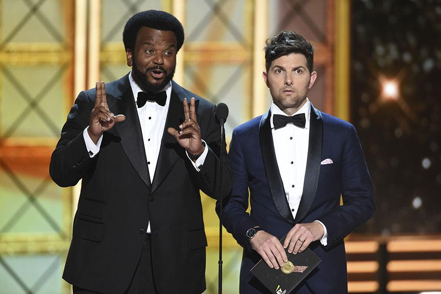 Craig Robinson and Adam Scott on stage at the 69th Primetime Emmy Awards