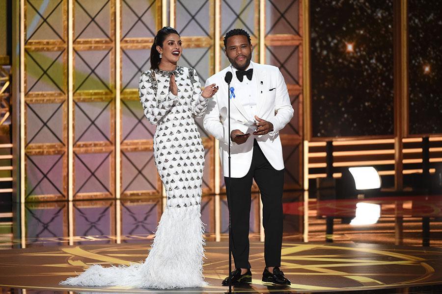 Priyanka Chopra and Anthony Anderson at the 69th Primetime Emmy Awards