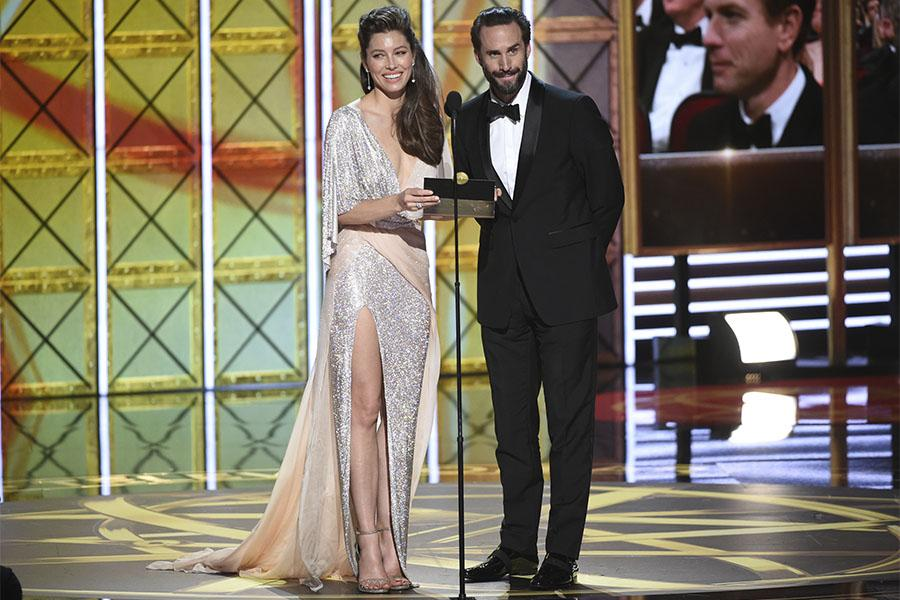 Jessica Biel and Joseph Fiennes presents an award at the 69th Primetime Emmy Awards