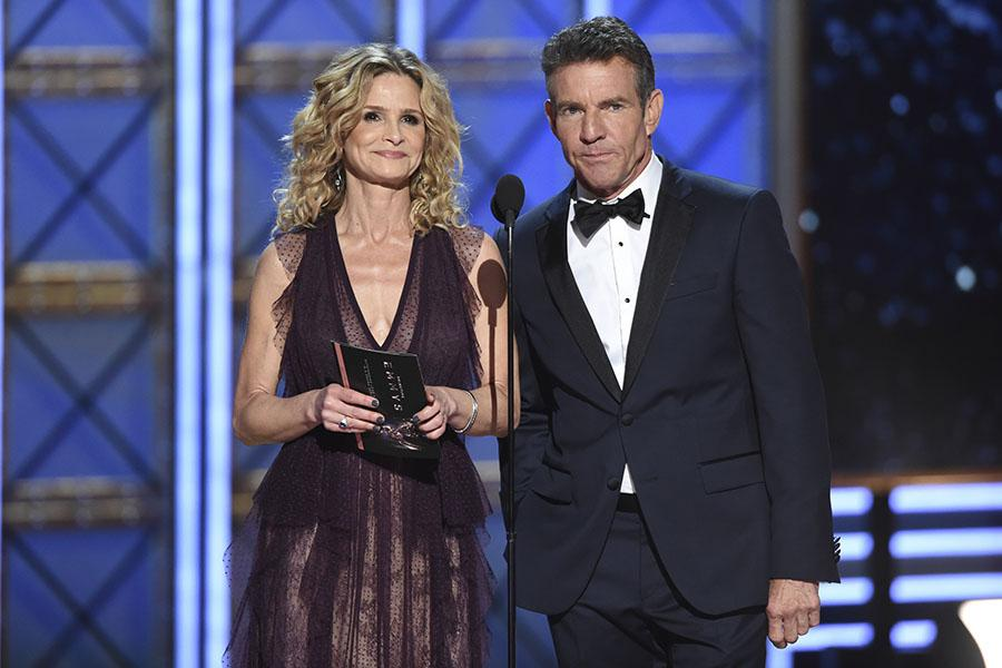 Kyra Sedgwick and Dennis Quaid present an award at the 2017 Primetime Emmys.