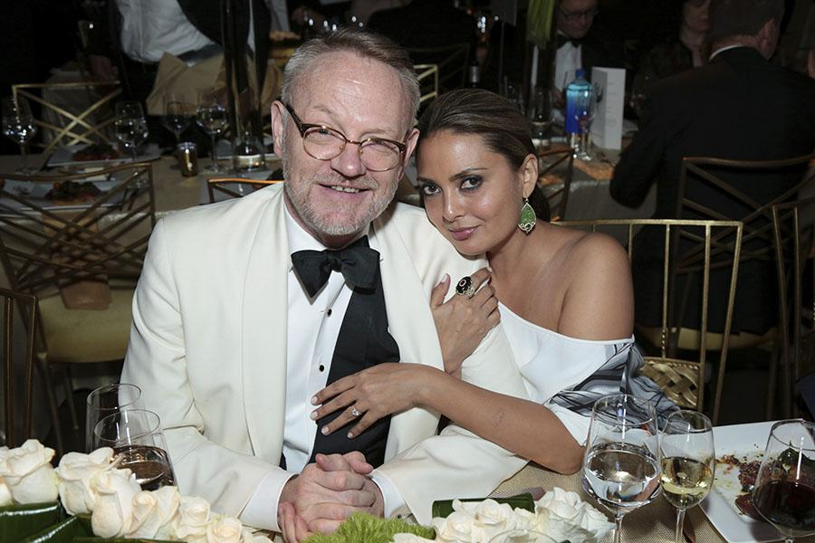 Jared Harris and Allegra Riggio at the 69th Emmys Governors Ball.