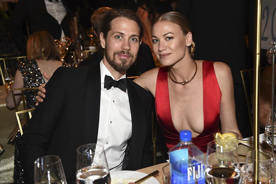 Tim Loden and Yvonne Strahovski at the 69th Emmy Awards Governors Ball.